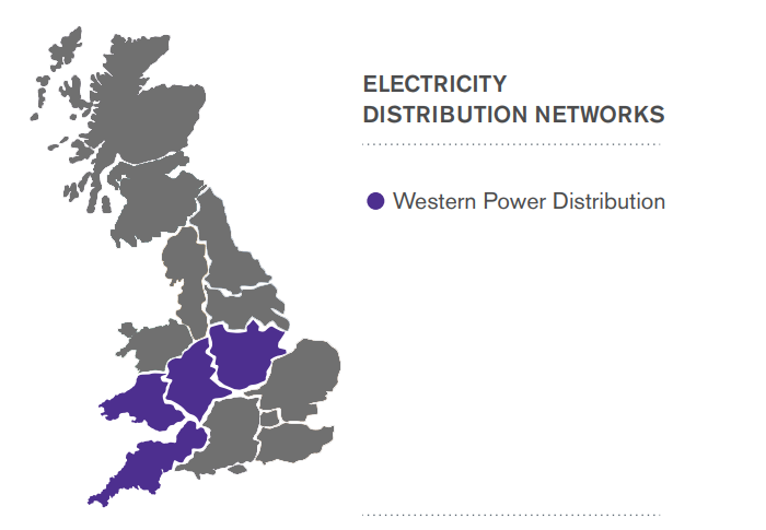 Western Power Distribution Area Map