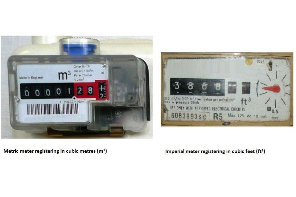Image of imperial and meter gas meter displays.