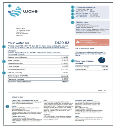 Wave Water Bill page 1